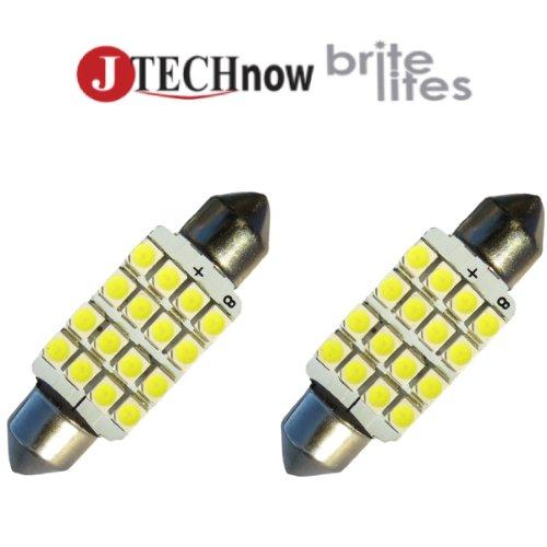 """Jtech 2X 39Mm(1.54"""") 16-Smd Dc 12V White Festoon Led Bulb 6411 6413 6423 6461 6418 De3425 De3423"""