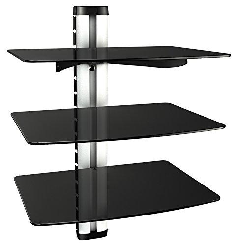 RICOO-Wandregal-TV-Rack-Wandhalterung-DVD-Design-Halterung-DVD-S3XL-Glasregal-Glas-Regal-HIFI-Wandboard-Player-Receiver-Wandhalter-inkl-Alu-Kabelkanal-Sicherheitsglas-Silver