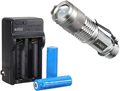 Finigo Mini 7W 300Lm Led Flashlight Torch Adjustable Focus Zoom Light (With 14500 Batteries And Charger)