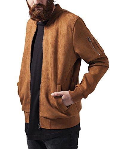 Urban Classics Imitation Suede Bomber Jacket, Giacca Uomo, Braun (Toffee 786), Large