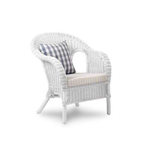New England White Rattan Easy Chair with Cushioned Seat Pad