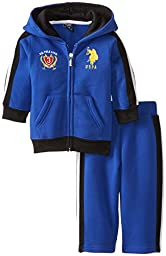 U.S. Polo Assn. Baby Boys\' Zip Up Hoodie and Track Pant, Cobalt Blue, 18 Months