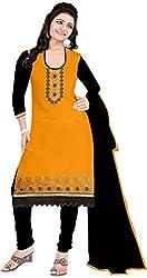 RADHE STUDIO Women's Cotton Un-Stitched Salwar Suit (RS3, Yellow)