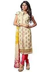 Beige colour embroidered cotton silk fabric semi stich churidar dress material