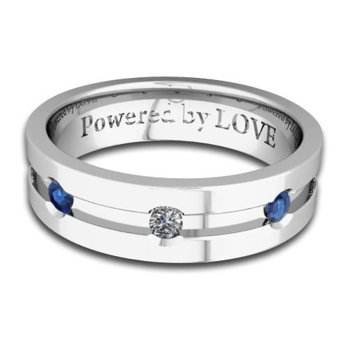 Engraved Mens Sapphire Diamond Wedding Band Comfort Fit in 18k White Gold (G, SI1, 0.45 cttw) 6MM, Powered by LOVE