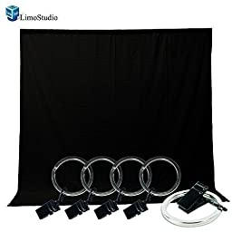 LimoStudio Photo Video Photography Studio 5x10ft Black Muslin Backdrop Background Screen with 5x Backdrop Holder Kit, AGG1337