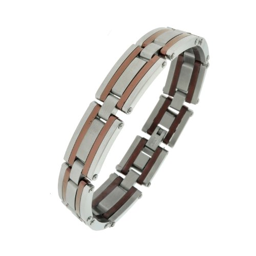 Stainless Steel Brown Ionic Plating Link Bracelet , 8.5″