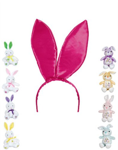 "New 9.5"" Pink Satin Easter Bunny Rabbit Costume Ears"