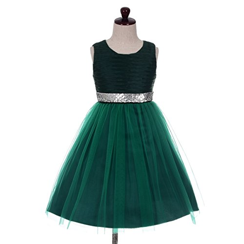 Dressy Daisy Girls' Sequins Embellishment Flower Girl Pageant Party Dresses Kid Size 5 Dark Green
