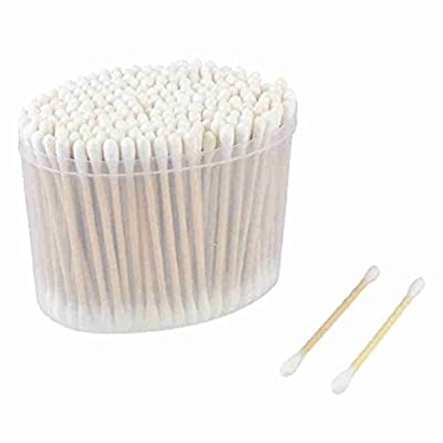 Miki&Co 200 Pcs Double End White Wooden Color Cotton Swab Bud Earwax Remover