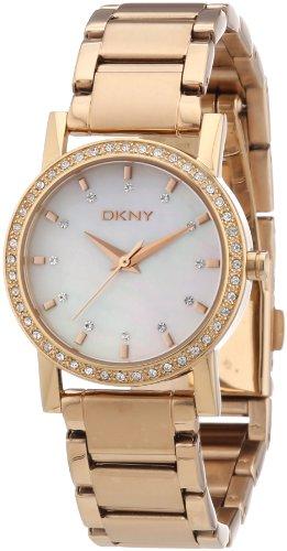 DKNY NY8121 - Reloj analógico de cuarzo para mujer con correa de acero inoxidable bañado, color dorado