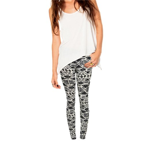 Egyptian Print Leggings Soft Spandex, Black And White front-551248