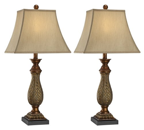 Set of 2 Two-Tone Gold 29″ High Traditional Table Lamps image
