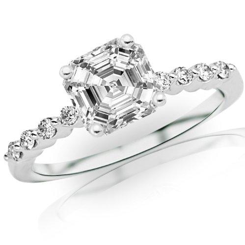 Sale 0.65 Carat Asscher Cut / Shape 14K White Gold Floating Prong Set Round Diamond Engagement Ring ( H-I Color , VS2 Clarity ) - Size 5.5