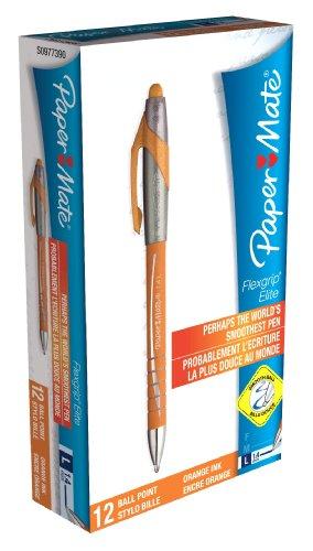 paper-mate-flexgrip-elite-rt-retractable-ball-pen-large-tip-14mm-orange-box-of-12