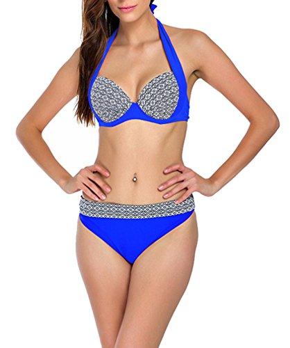 Sexy Plaid Push Up Bikini Halter Summer Two Piece Bathing Suit-KJ5346-NBE2