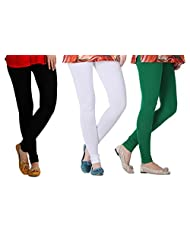 2Day Women's Cotton Black/White/Bottle Green Churidaar Legging (Pack Of 3)