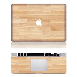 Vati Leaves Removable Wood Floor Protective Full Cover Vinyl Art Skin Decal Sticker Cover for Apple MacBook Air 13.3\