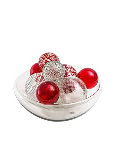 Worldly Goods Glass Bowl With 9 Glass Spheres, Ruby/Clear