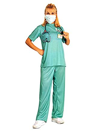 HDE Women's Dr Medical Physician Surgeon Scrubs Halloween Costume Party Outfit