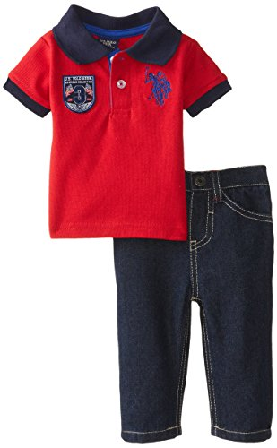 U.S. Polo Assn. Baby-Boys Newborn Solid Pique Polo And Denim Jeans Set, Engine Red, 3-6 Months