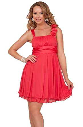 Designer Gathered Empire Flowy Evening Prom Party Dress (Large, Coral Rose)
