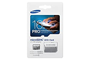 Samsung Memory 16GB Pro MicroSDHC UHS-I Grade 1 Class 10 Memory Card with SD Adapter
