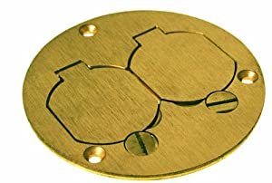Raco 6249 3-7/8-Inch Round Floor Box Duplex Brass Cover with Lift Lids