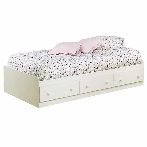 South Shore Mates Twin Bed Box Vanilla Cream front-979952