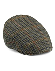 Pure Wool Large Checked Flat Cap