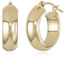 Hot Sale Duragold 14k Yellow Gold Half-Round Hoop Earrings