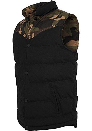 Urban Classics Camo 2-tone Vest, Farbe:woodcamo/blk;Größe:L