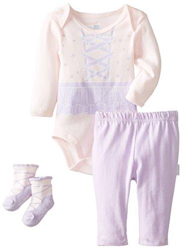 Vitamins Baby Baby-Girls Newborn Ballerina 3 Piece Creeper Pant Set, Lilac, 6 Months