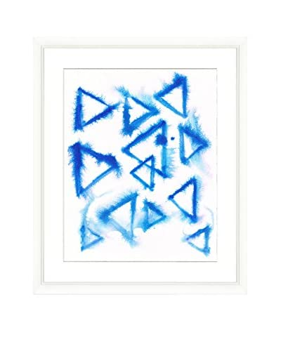 Blue Line Triangles Original Watercolor Painting