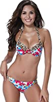 Indrah Women Sexy Push up Padded Swimsuit Bikini Set and Circular Metal