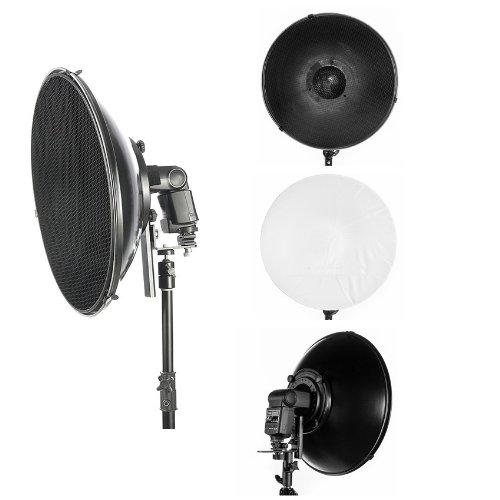 Studio 16″ 41cm Flash Beauty Dish Reflector Honeycomb Grid & Diffuser Set for Nikon SB-600, SB700, SB910, 900, 400, 800, 28, 23, 25, 24, 26, 27, 80DX, 28DX, 50DX OLYMPUS FL 50R, 36, 50, 40, 36R PANASONIC DMW-FL360, FL500
