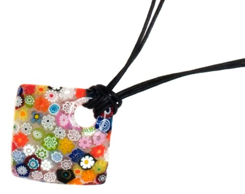 Sterling Silver Square Flower Design Murano Glass Pendant with Black Cord, 19