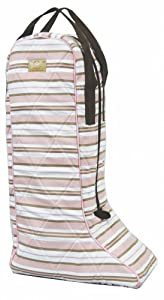 Equine Couture Madison Boot Bag - Light Blue & Chocolate Stripe Standard