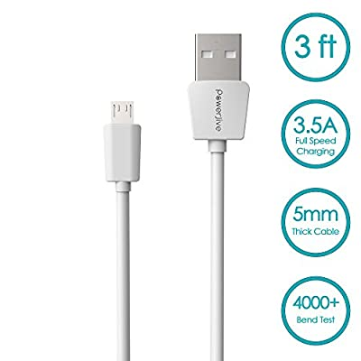 Micro USB Cable 3ft [3 Pack] - PowerJive® [LifeTime Warranty] High Speed Phone Cord - High Speed Connector For Samsung Galaxy S3/S4/S6//Edge LG G2/G3/G4 Nexus 5/7 HTC One Note 2/3/4 Nexus 5/7 (White) from PowerJive