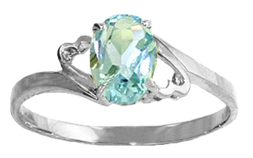 .925 Sterling Silver Promise Ring with Genuine Oval Aquamarine
