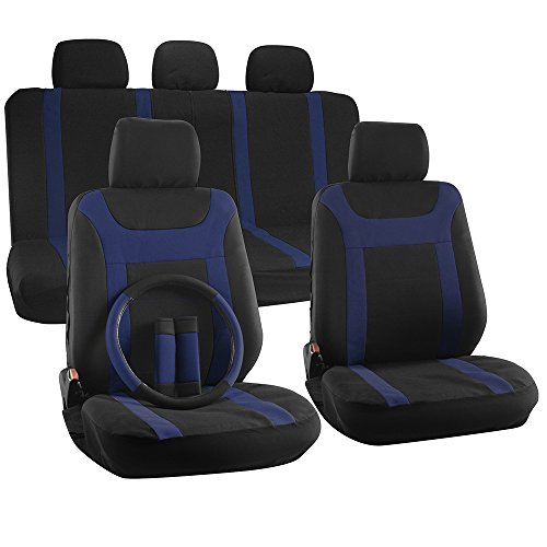 OxGord 17-Piece Y Stripe Seat Cover Set - Polyester Fabric (Blue/Black) (Car Seat Covers Ford Focus compare prices)