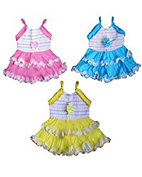 JBN Creation Infant Girls Coulourful Cotton Frock Set of Three Combo