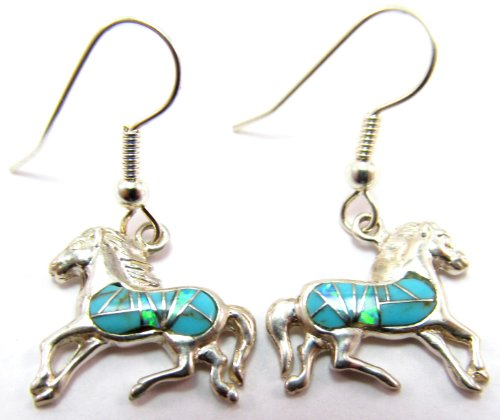 Sterling Silver Southwestern Horse Earrings with Turqoise and Opal Stones