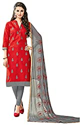 Clickedia Women's Bombay Cotton Embroidered Red & Grey Salwaar Suit Dupatta - Dress Material