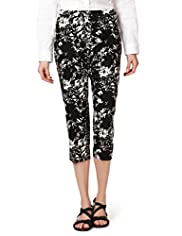 Cotton Rich Tropical Leaf Print Tapered Leg Cropped Trousers