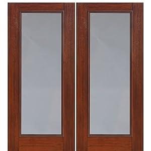 Mahogany Fiberglass Door Full Lite 2 Glasscraft