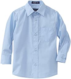 U.S. Polo Assn. School Uniform Little Boys\' Long Sleeve Broadcloth Shirt, Light Blue, 6