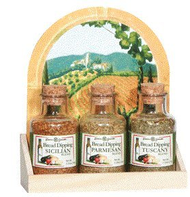 Dean Jacob's Bread Dipping Wooden Tray Set Includes: Sicilian, Tuscany and Parmesan Blends