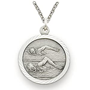 ".925 Sterling Silver Swimming Swimmer Medal Pendant, St. Saint Christopher on Back Swim Sports Jewelry w/Chain 20"" Length Rhodium Plated Strong Stainless Steel Necklace, Gift Boxed for Boys, Girls, Men or Women"
