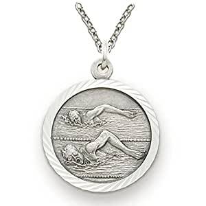 """.925 Sterling Silver Male Swimmer 3/4"""" Medal Sports Patron Saint Medal Pendant with St. Christopher on Back comes with a 20'' chain Necklace in a deluxe velvet box"""